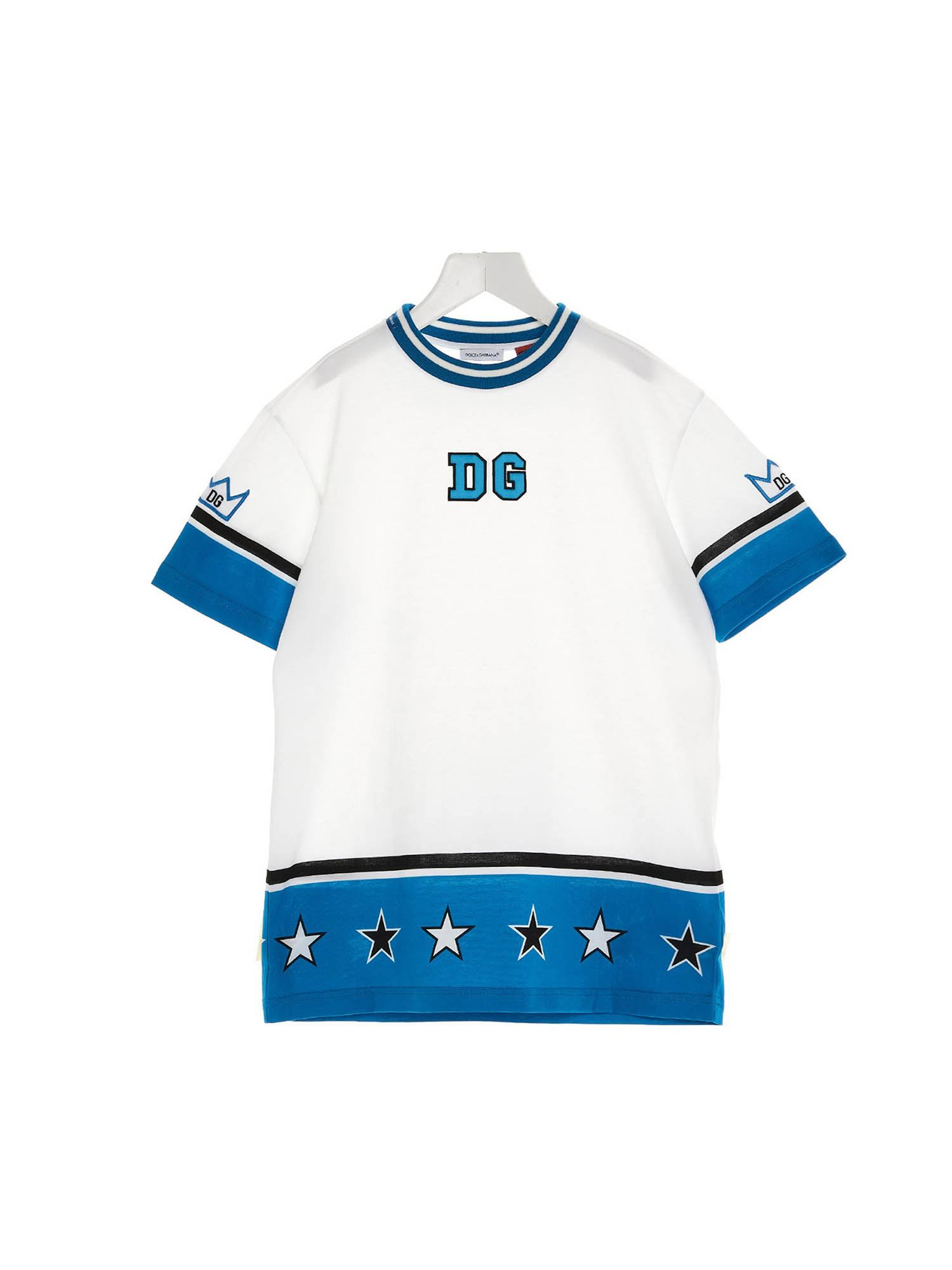 DOLCE & GABBANA JR Cottons DG ROYALS T-SHIRT IN WHITE AND BLUE