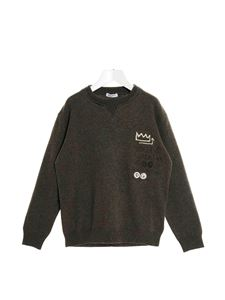 Dolce & Gabbana Jr - Embroidered logo pullover in grey