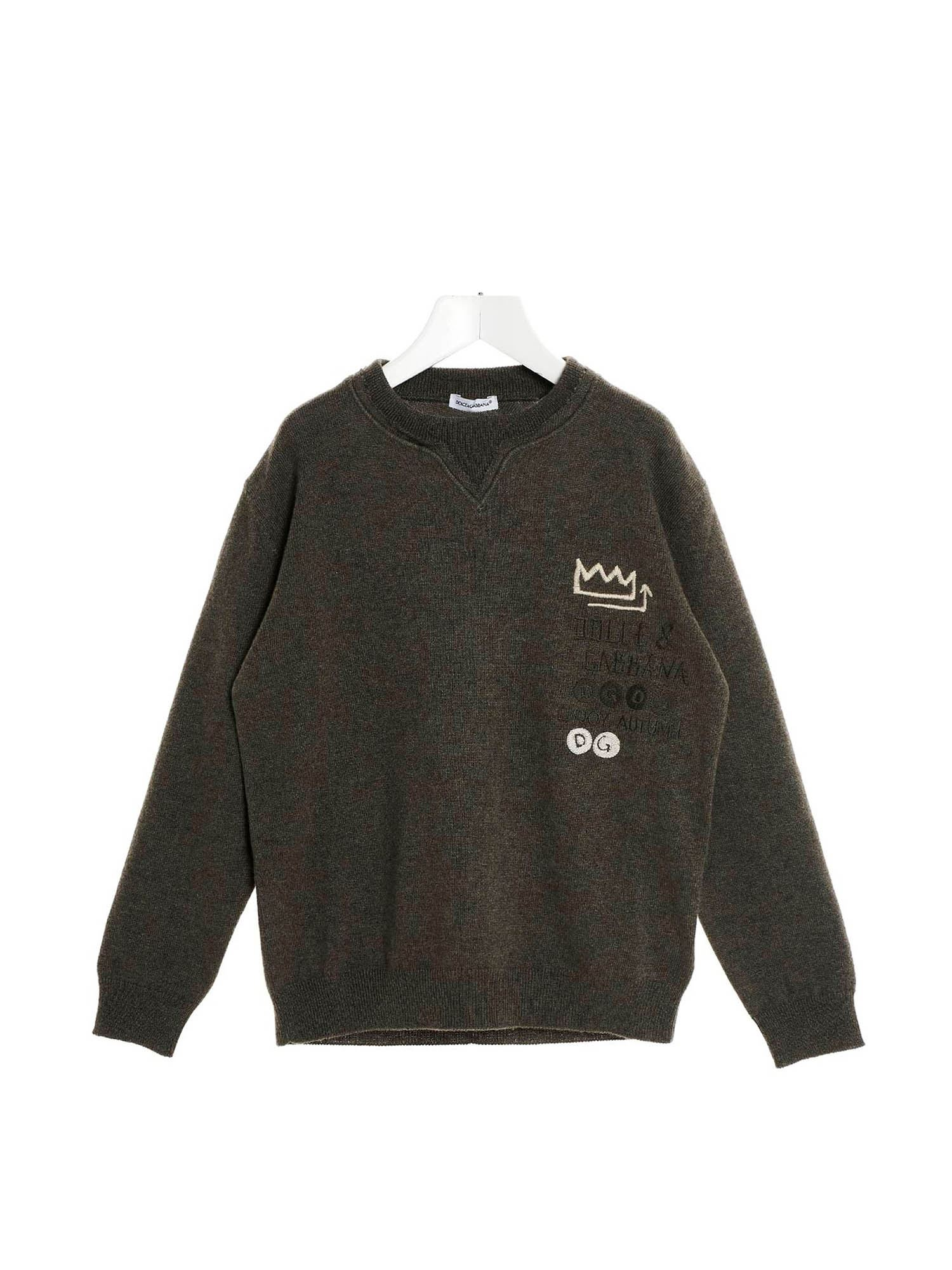 Dolce & Gabbana Jr EMBROIDERED LOGO PULLOVER IN GREY