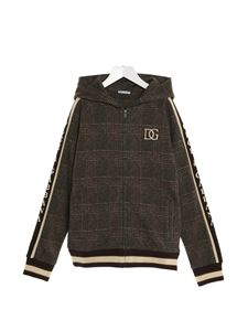 Dolce & Gabbana Jr - DG checked sweatshirt with zip in brown