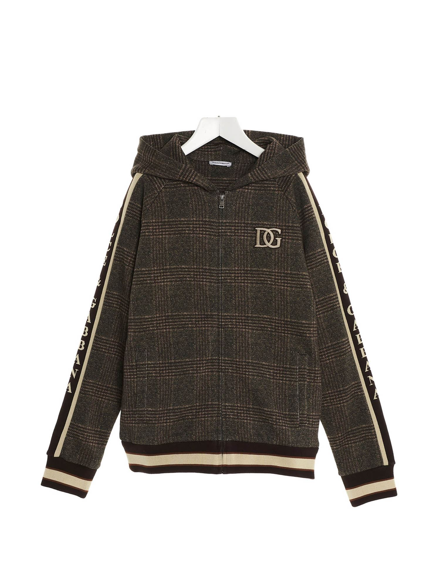 Dolce & Gabbana Jr DG CHECKED SWEATSHIRT WITH ZIP IN BROWN