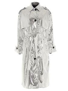 MSGM - Laminated trench coat in silver color