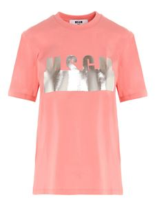 MSGM - Laminated logo T-shirt in pink