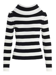 MSGM - Striped sweater in black and white