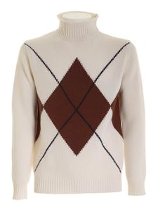 Kangra Cashmere - Diamond inlay pullover in ivory color