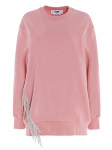 MSGM - Strass fringes sweatshirt in pink