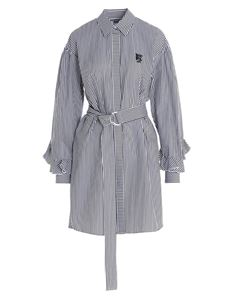 MSGM - Striped shirt dress in lack and white
