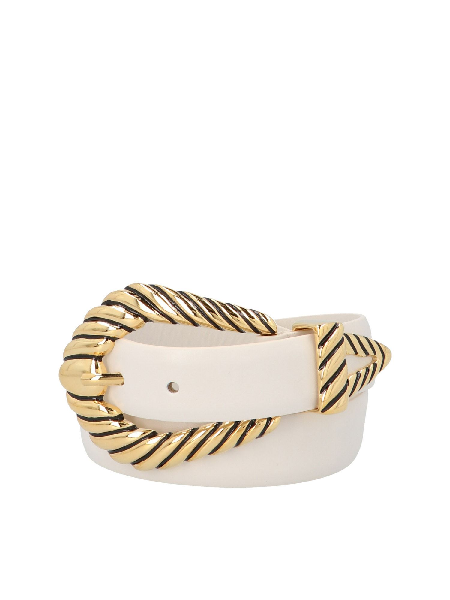 Alberta Ferretti ALBERTA FERRETTI BOXED BUCKLE BELT IN WHITE AND GOLD