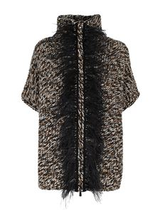 Le Tricot Perugia - Tricot effect cardigan in black brown and white