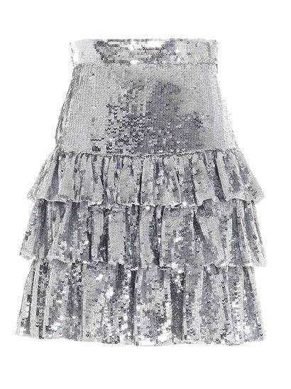 MSGM - Sequined mini skirt in silver color