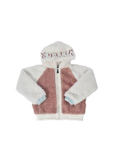 Moncler Jr - Teddy effect jacket in white and pink
