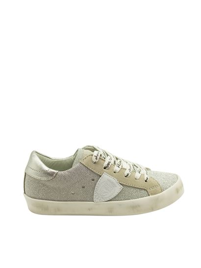 Philippe Model - Glittered sneakers in silver