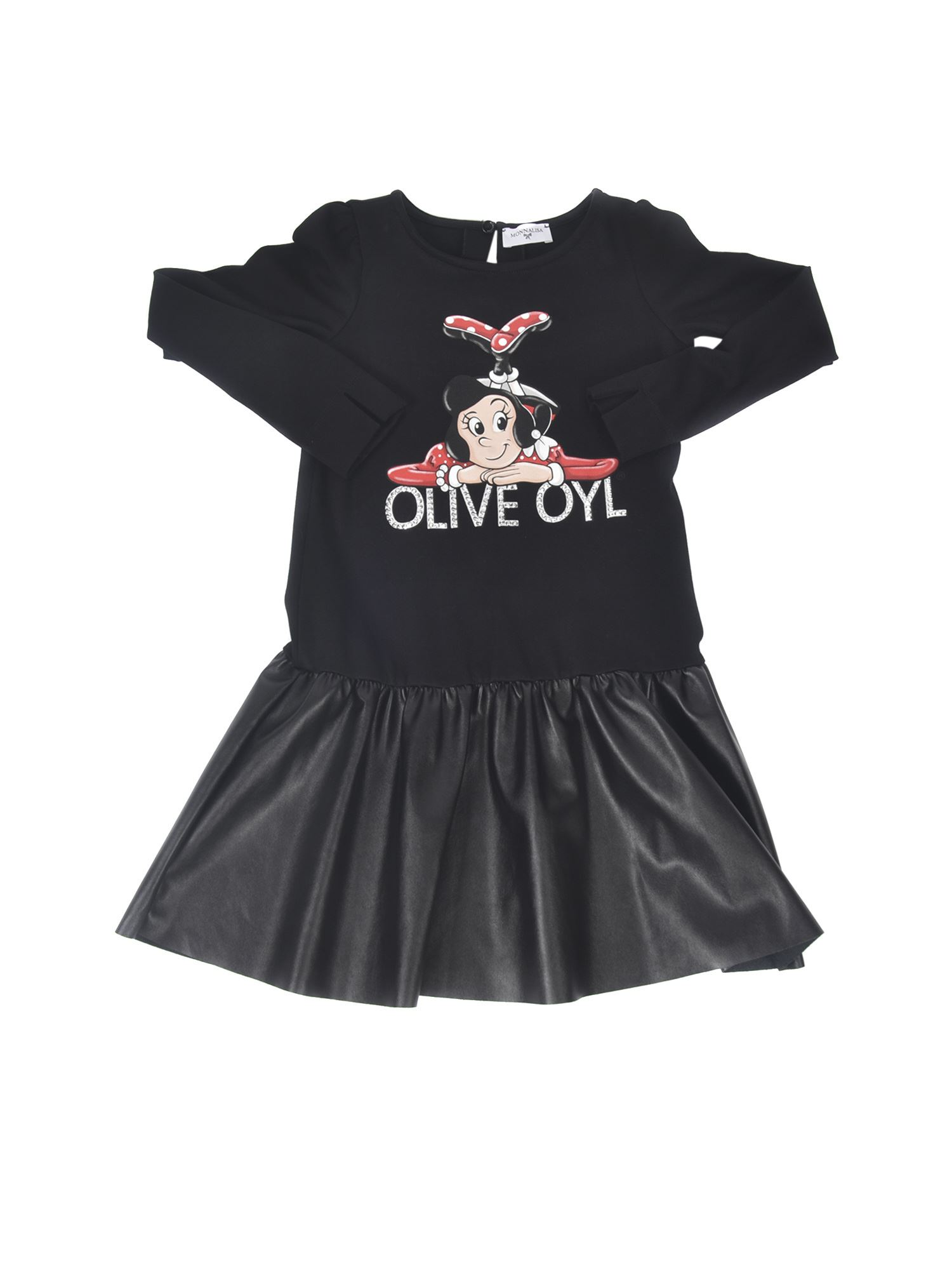 Monnalisa OLIVE OYL DRESS IN BLACK