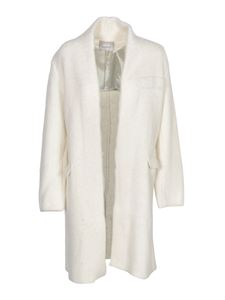 Laneus - Single-breasted coat in ivory color