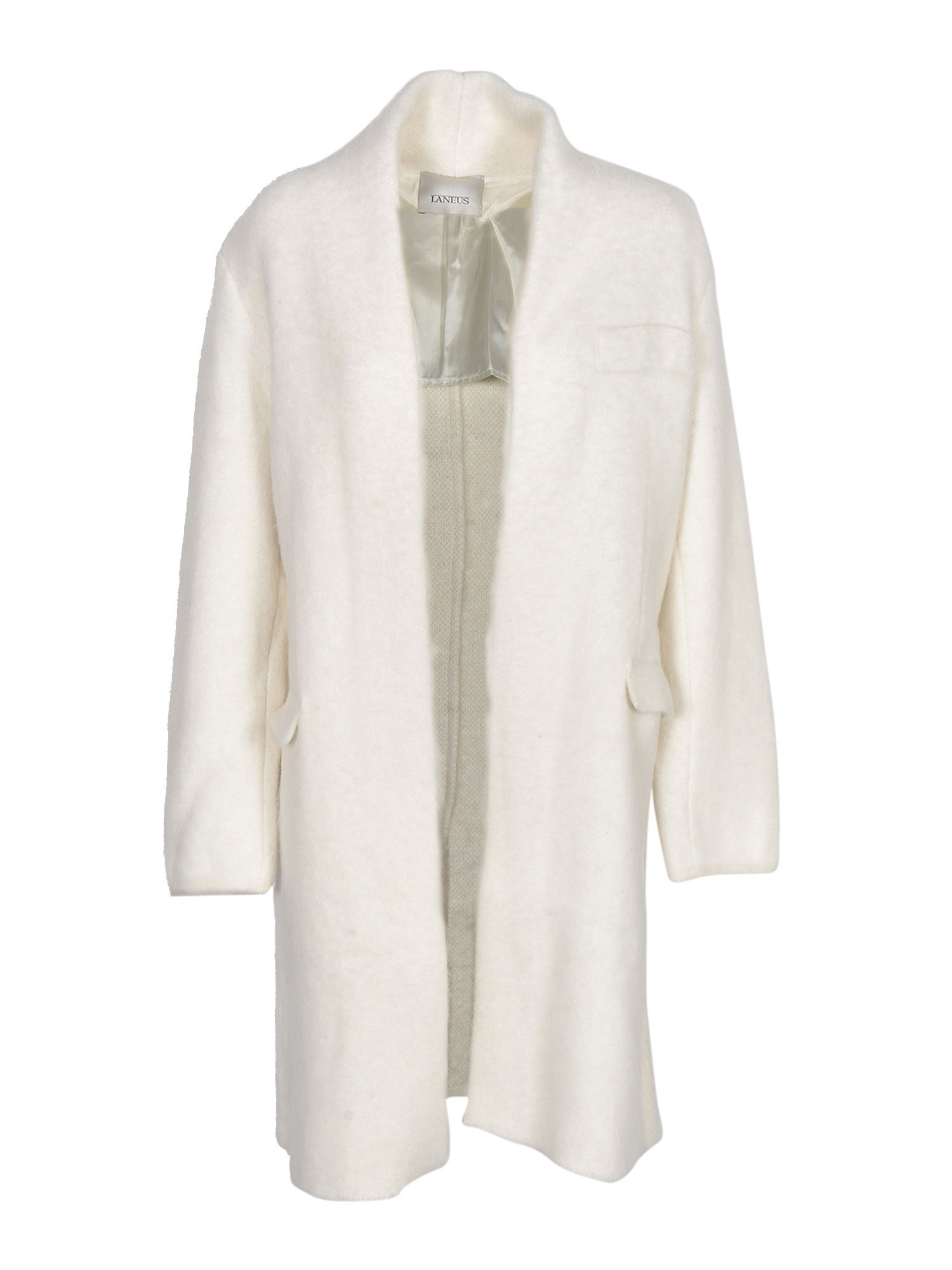Laneus SINGLE-BREASTED COAT IN IVORY COLOR