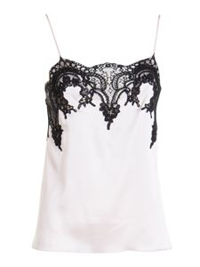 Blumarine - Lace insert silk top in white and black