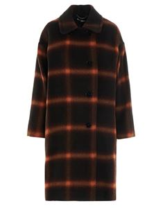 Stella McCartney - Double-breasted maxi checked coat in brown