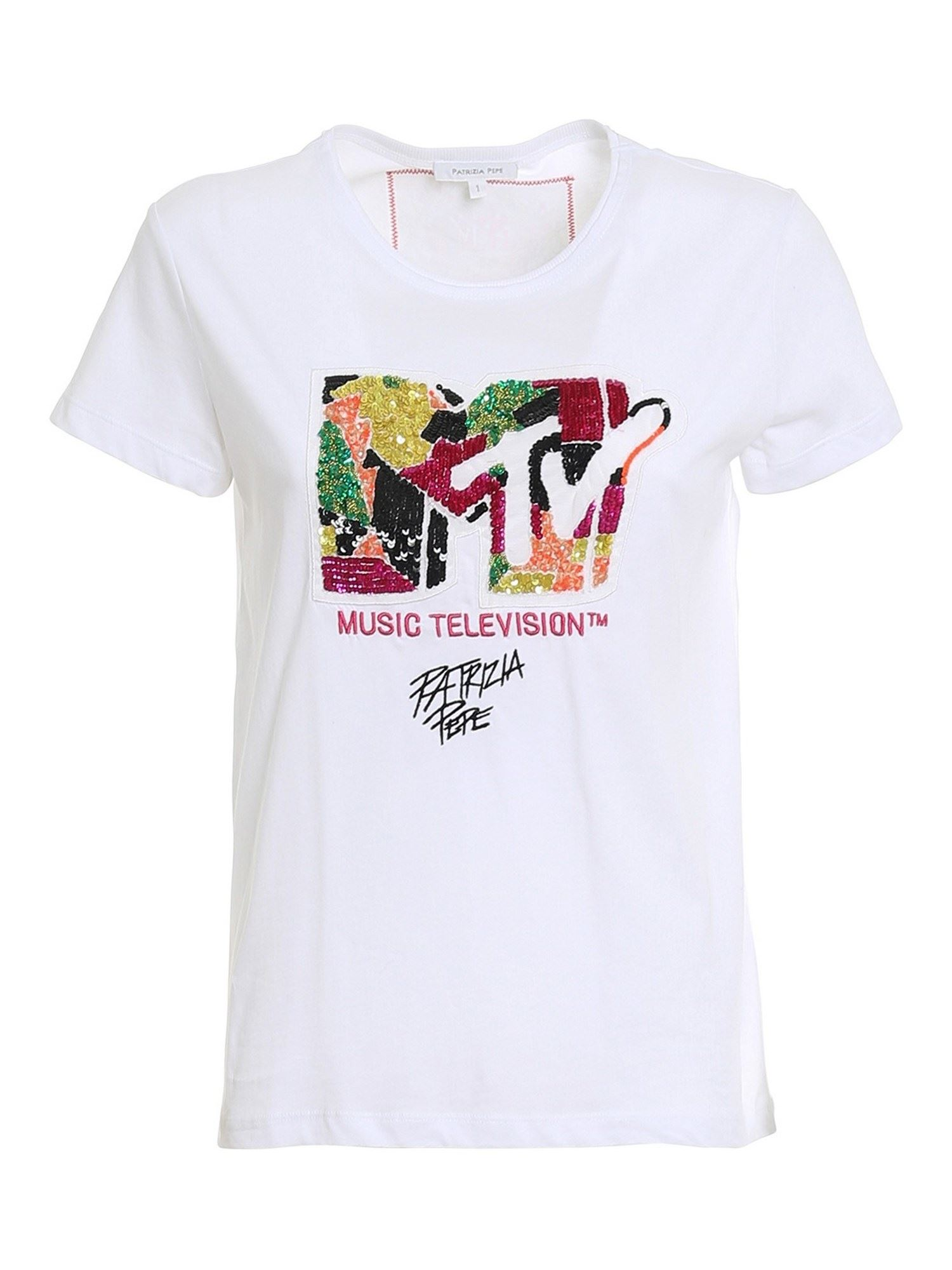 Patrizia Pepe MTV COTTON SHIRT WITH SEQUINS AND BEADS