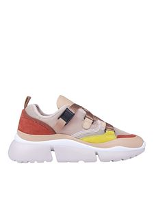 Chloé - Leather and fabric sneakers