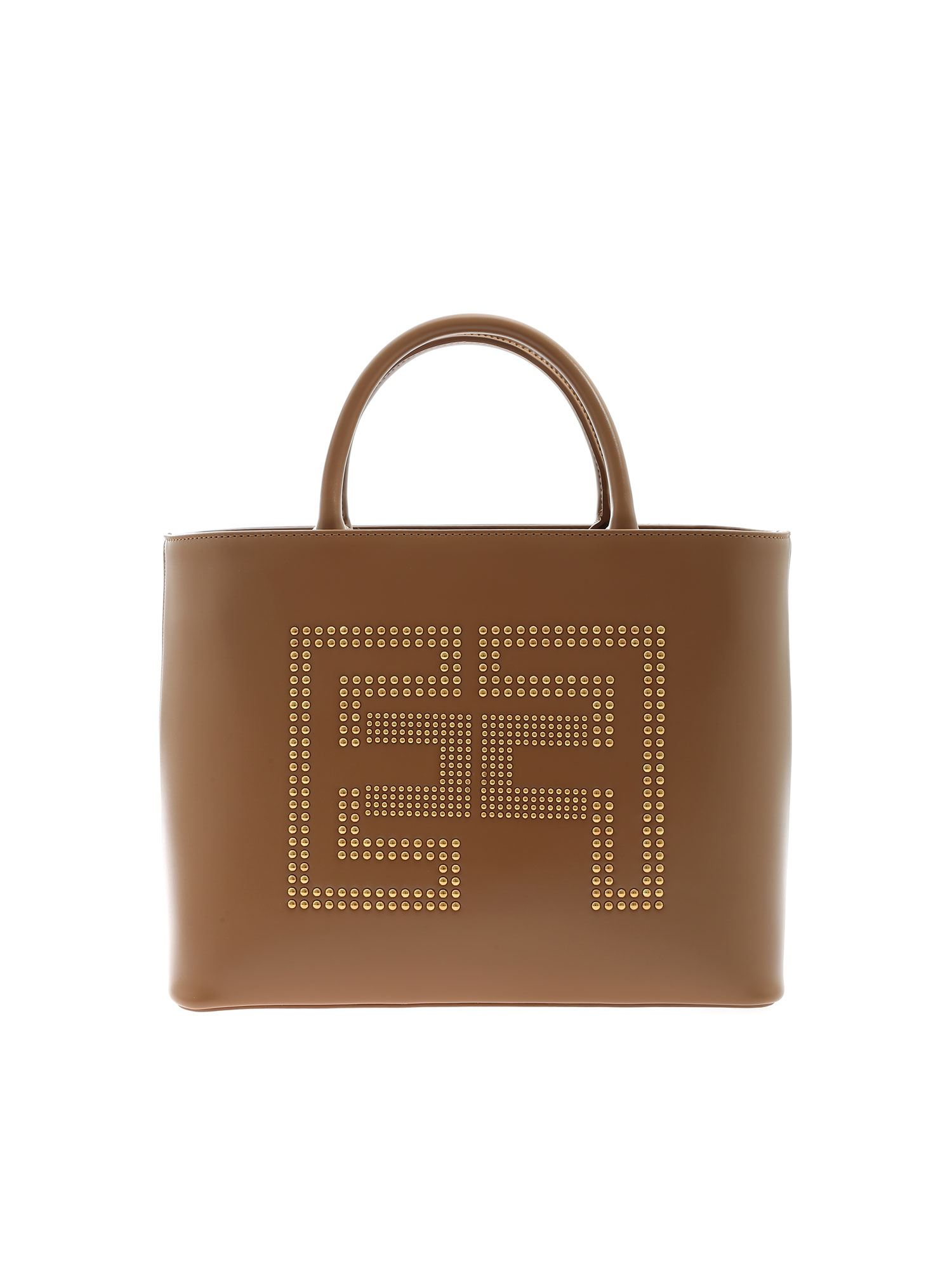 ELISABETTA FRANCHI LOGO HANDBAG IN BROWN