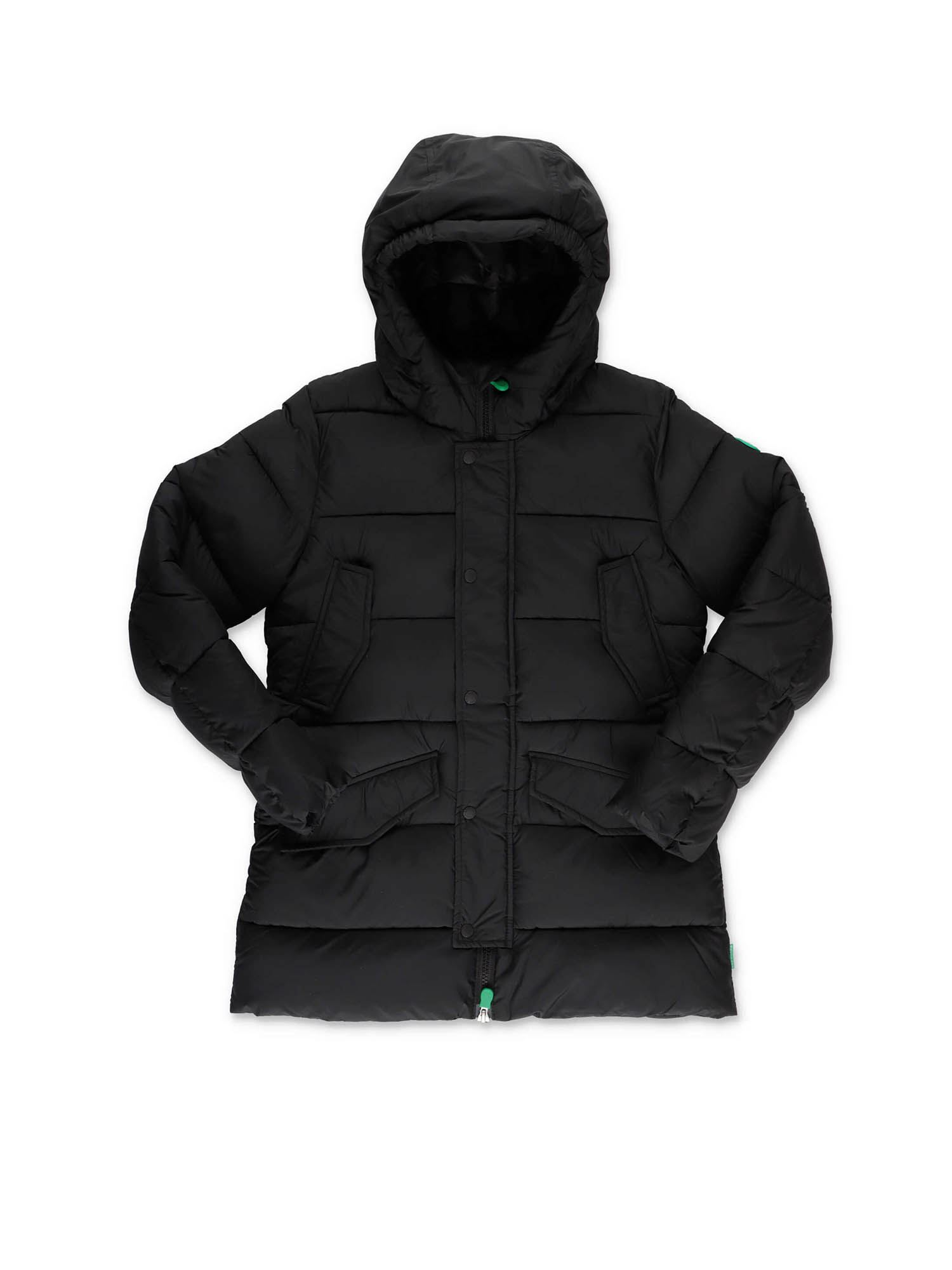 Save The Duck BLACK PUFFER JACKET WITH HOOD
