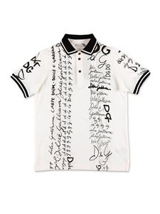 Dolce & Gabbana Jr - White polo shirt with allover logo