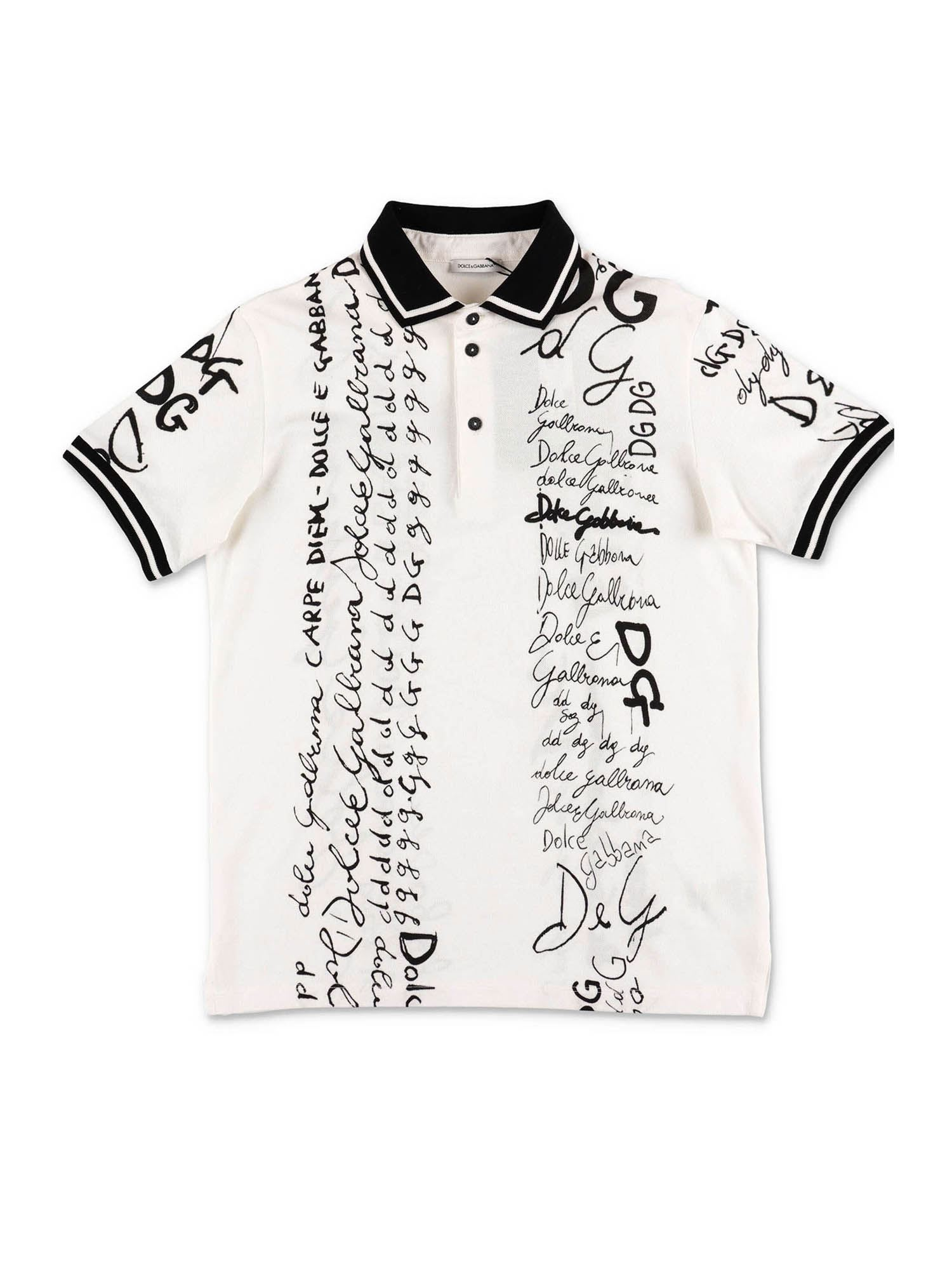 Dolce & Gabbana Jr WHITE POLO SHIRT WITH ALLOVER LOGO