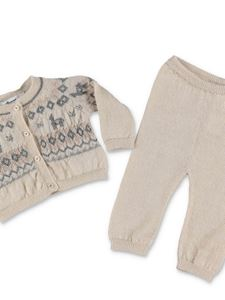 Bonpoint - Beige cardigan pants set