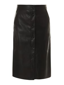 Semicouture - High waisted black faux leather skirt