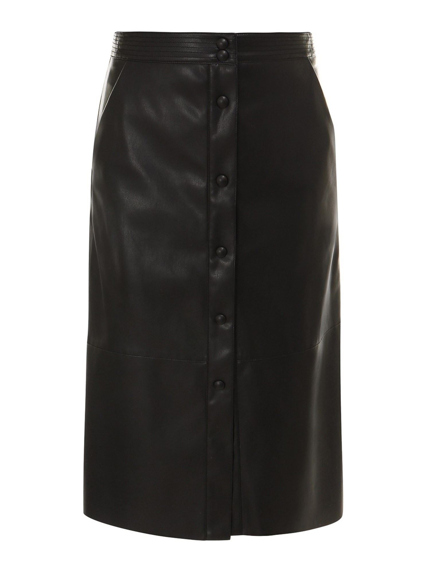 Semicouture HIGH WAISTED BLACK FAUX LEATHER SKIRT
