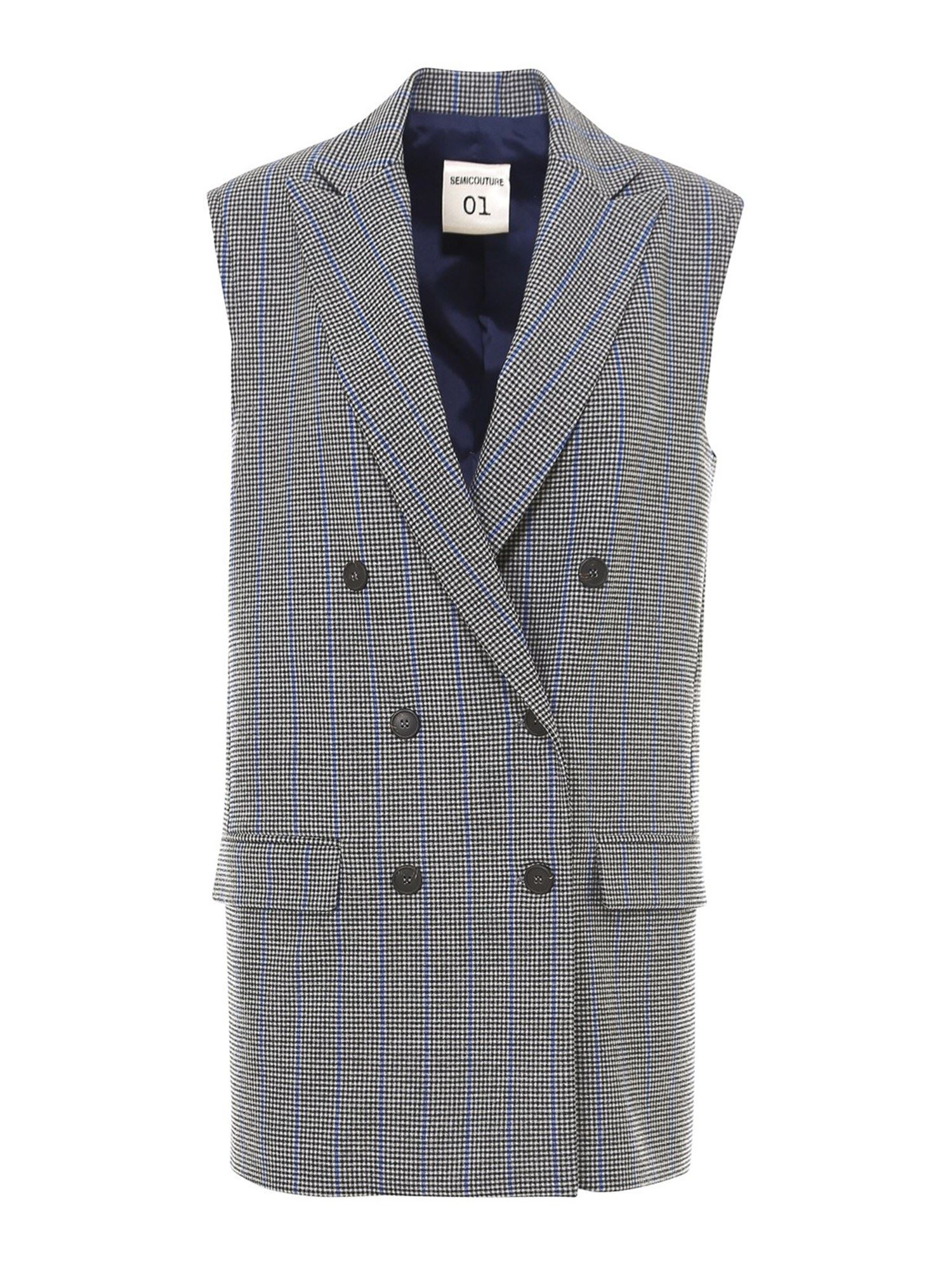 Semicouture CHECKED DOUBLE BREASTED VEST