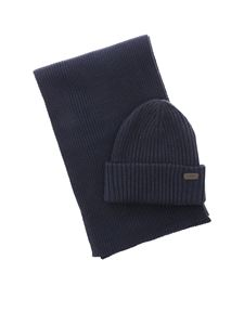 Barbour - Crimdon beanie and scarf set in blue