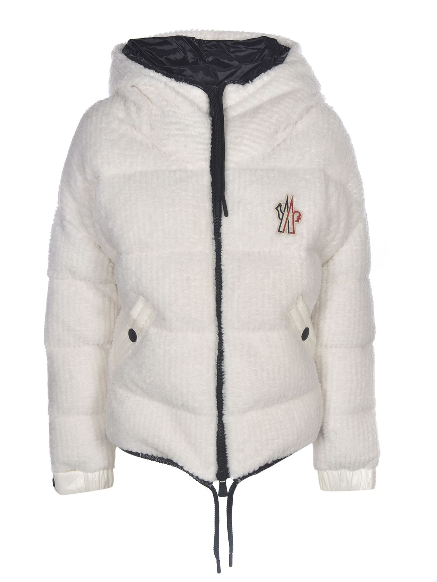 MONCLER GRENOBLE TEDDY EFFECT CARDIGAN IN WHITE