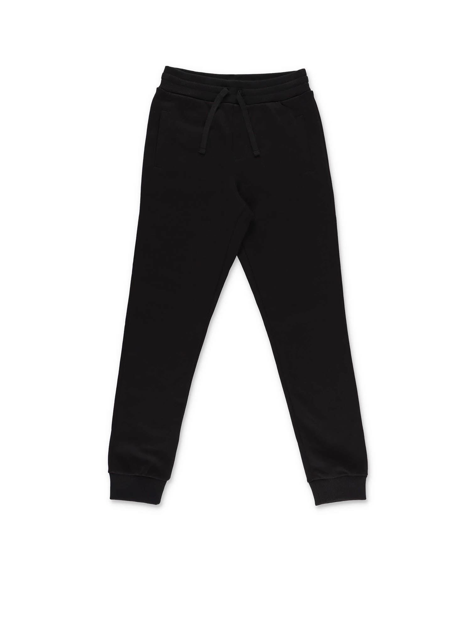 Dolce & Gabbana Jr BLACK SWEAT PANTS WITH LOGO