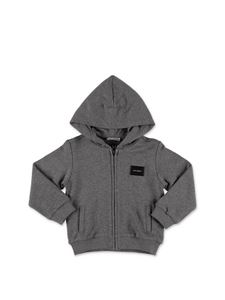 Dolce & Gabbana Jr - Gray sweatshirt with zip and hood
