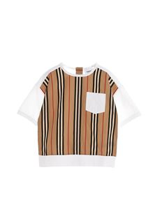 Burberry - T-shirt inserto a righe bianca