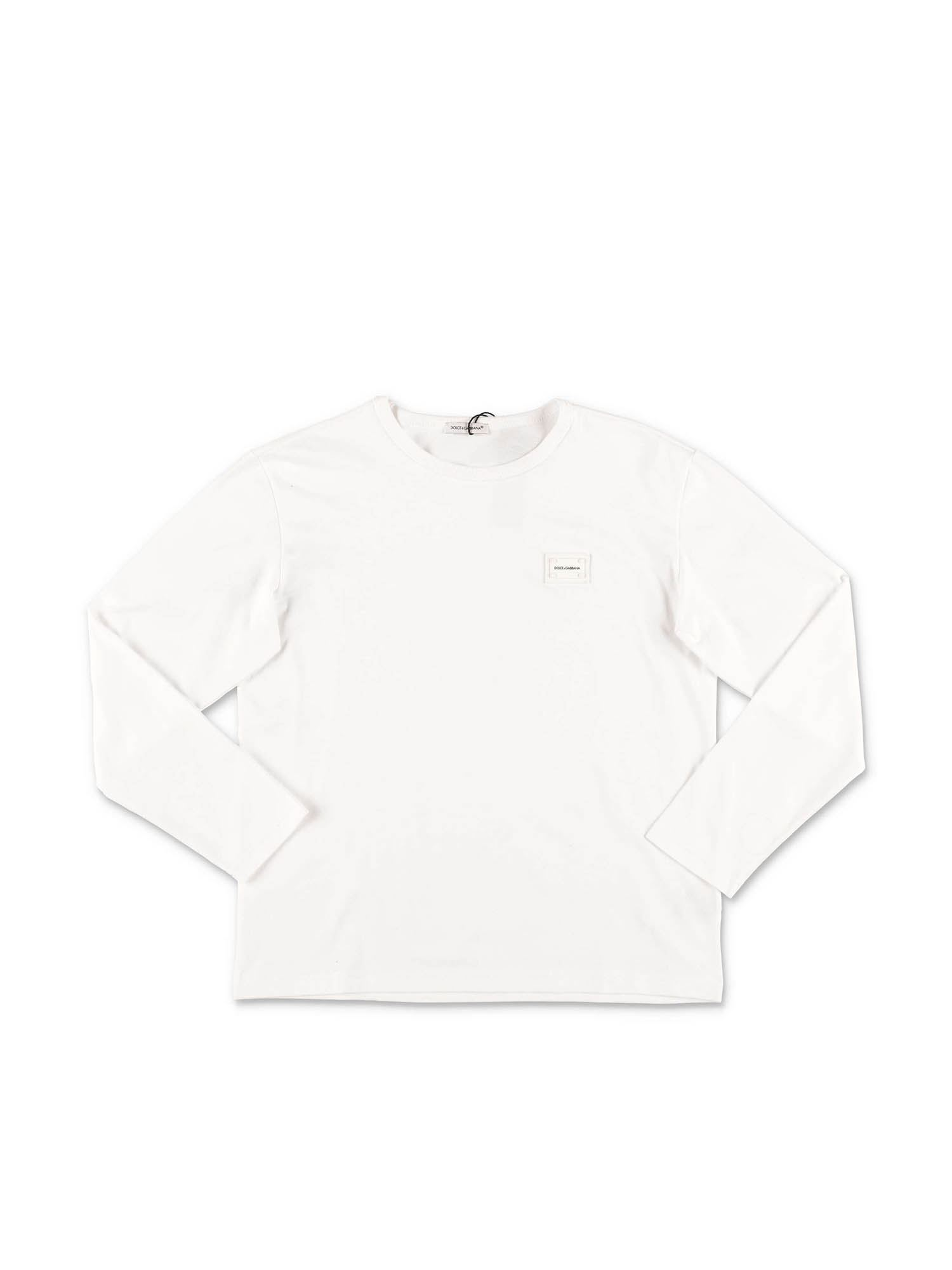 Dolce & Gabbana Jr LONG SLEEVE T-SHIRT IN WHITE