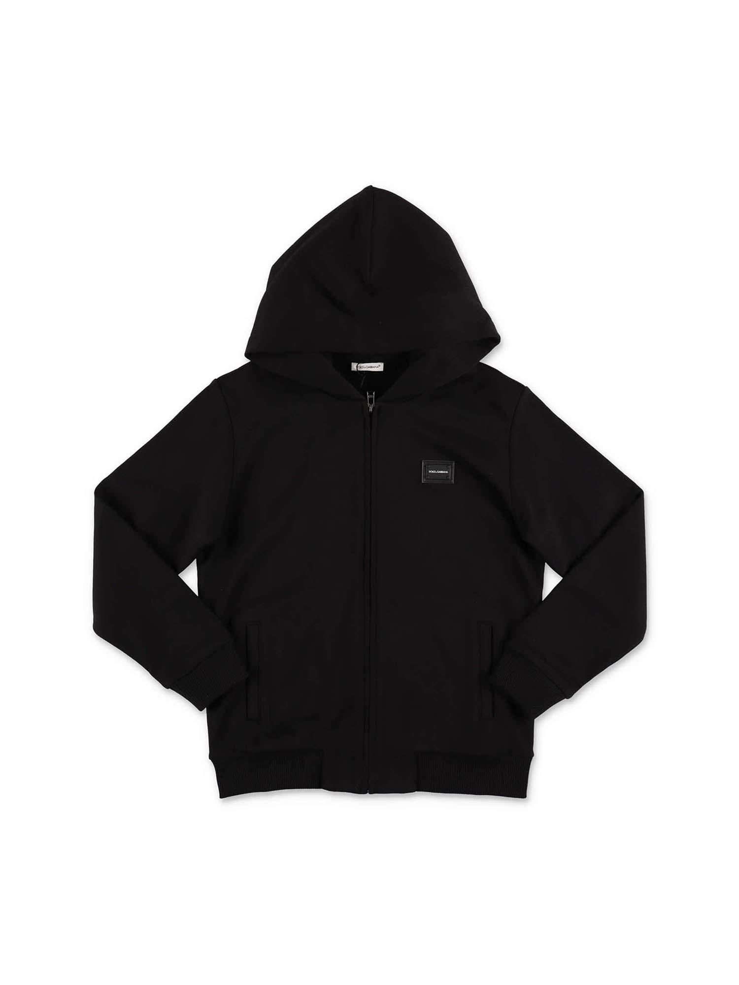 Dolce & Gabbana Jr HOOD AND ZIP SWEATSHIRT IN BLACK