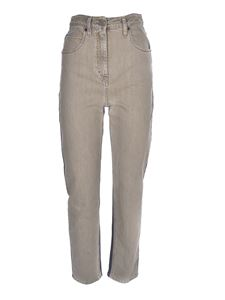M Missoni - Logo embroidery jeans in beige and blue