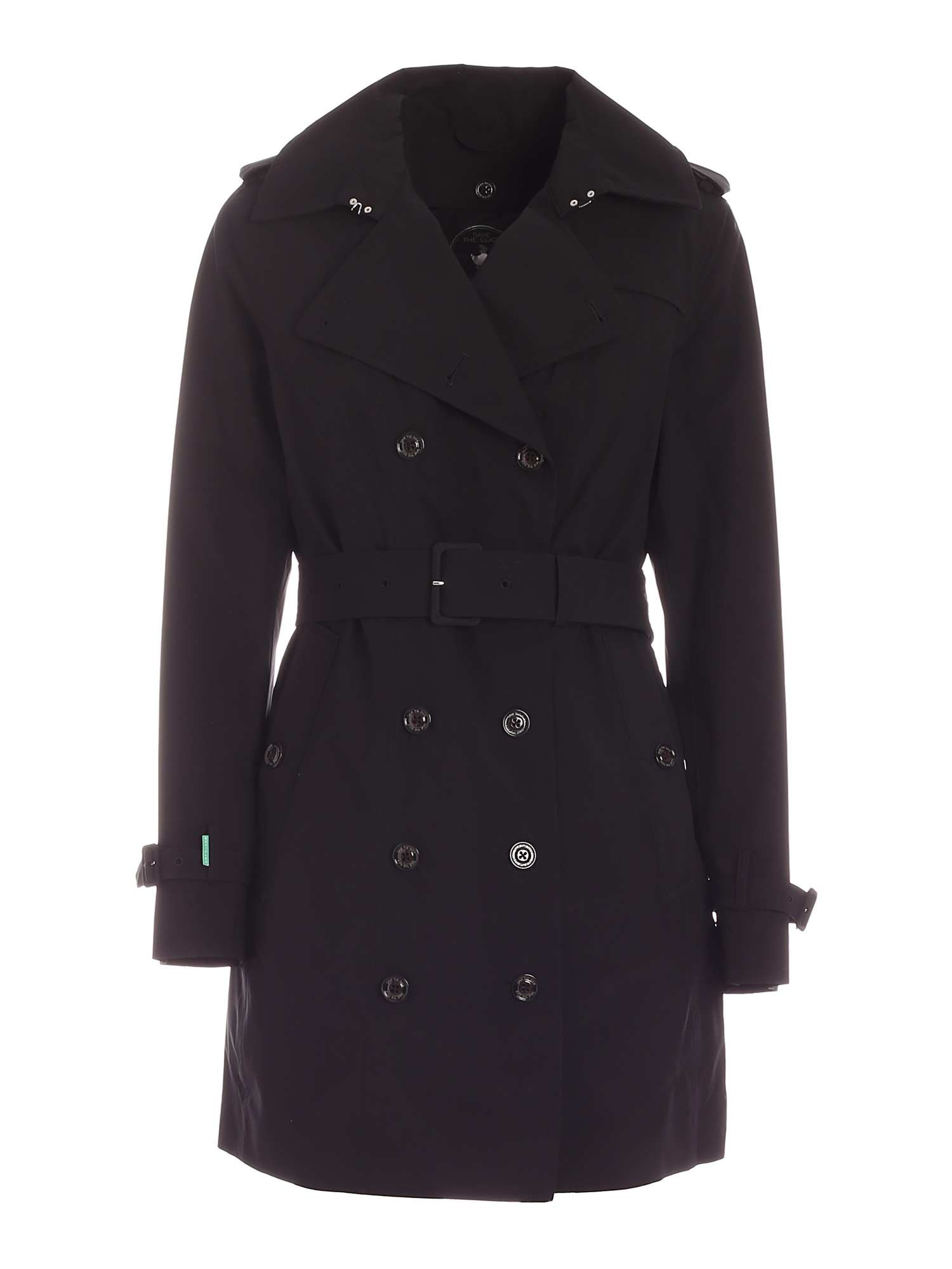 Save The Duck GRINY TRENCH COAT IN BLACK