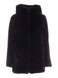 Save the duck - Furyy hooded faux fur in black