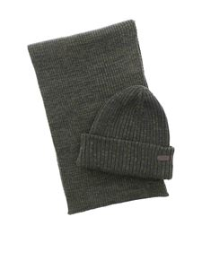 Barbour - Crimdon beanie and scarf set in green