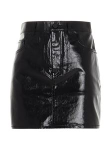 Saint Laurent - Vinyl denim mini skirt in black