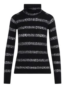 Saint Laurent - Openwork lamé striped turtleneck in black