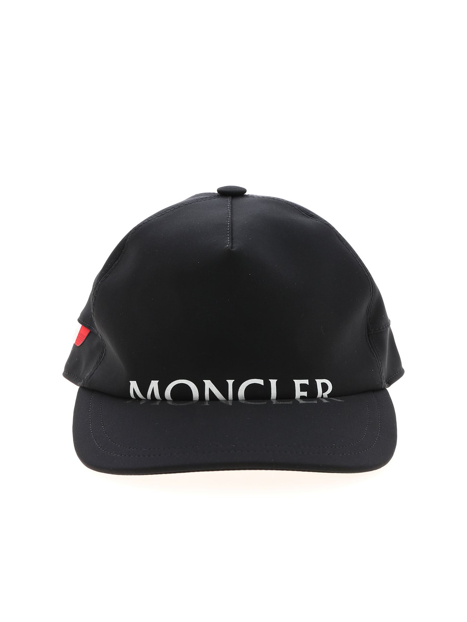 Moncler WHITE LOGO CAP IN BLACK