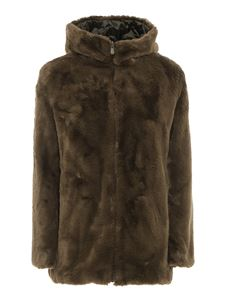 Save the duck - Eco fur and nylon reversible padded coat