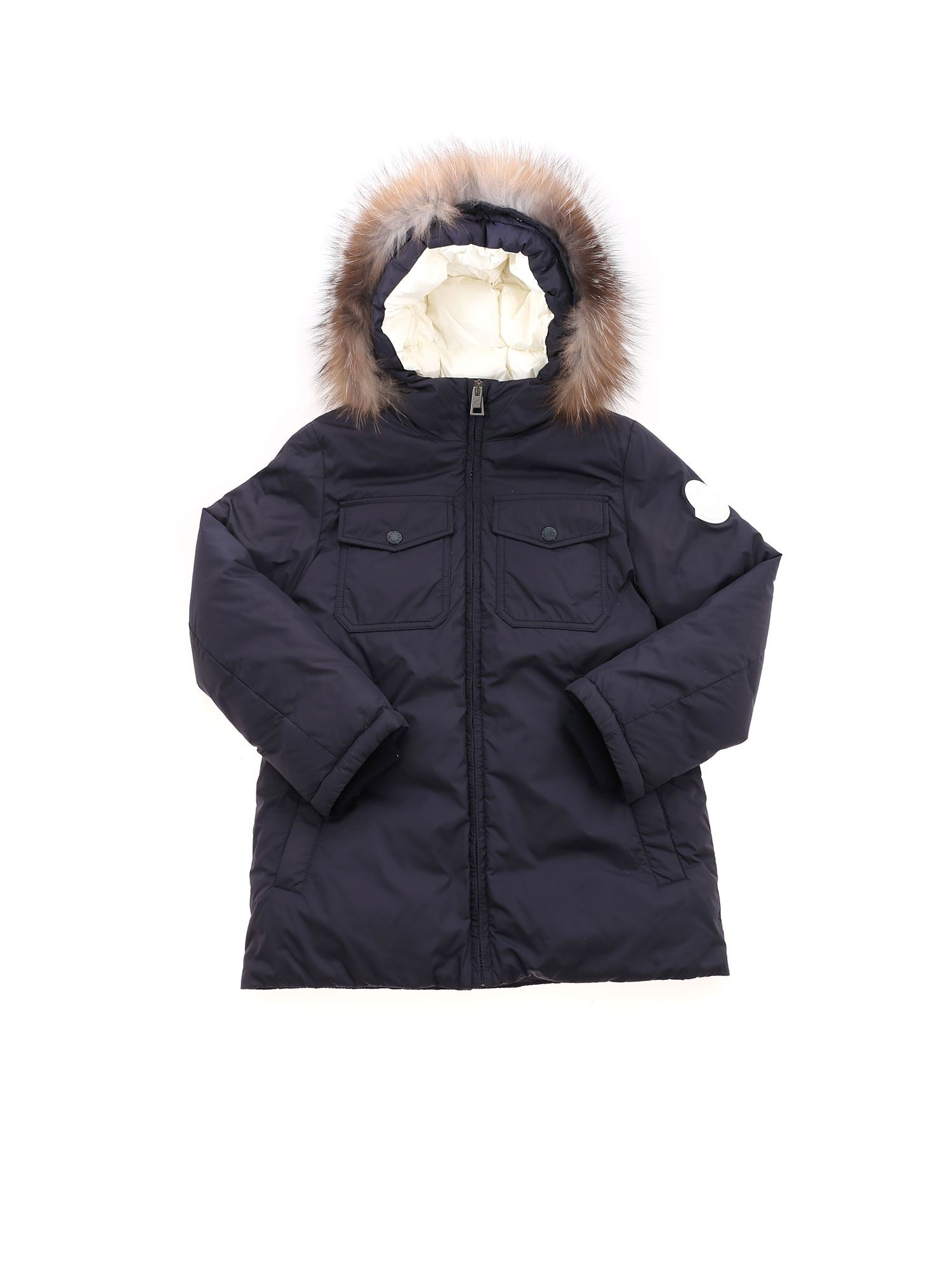 Moncler Jr MANUE HOODED DOWN JACKET IN BLUE