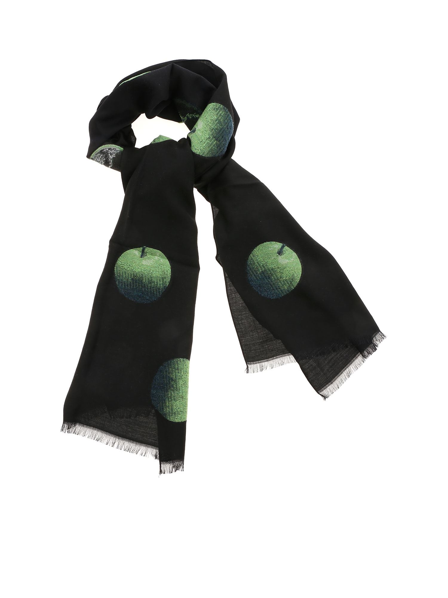 Paul Smith GREEN EMBROIDERY FOULARD IN BLACK