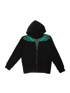 Marcelo Burlon Kids - Felpa Green Wings nera