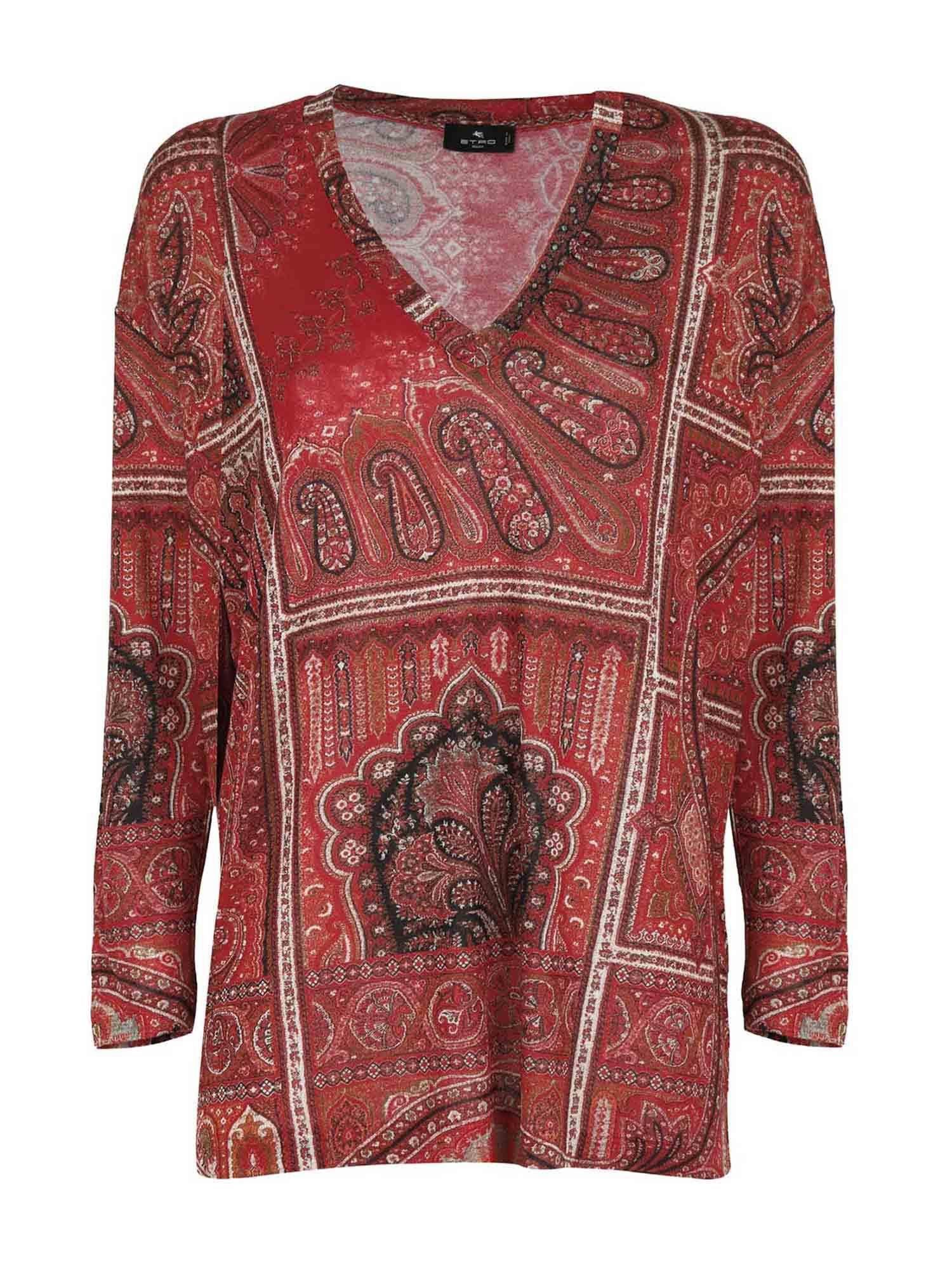 Etro PRINTED LONG SLEEVE T-SHIRT IN RED